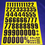 Sheet of Magnetic Numbers 43mm Black on Yellow